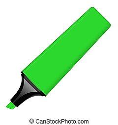 -, grön, öppnat, highlighter