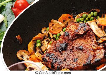-, grönt, grönsaken, förberedd, panorera, kött