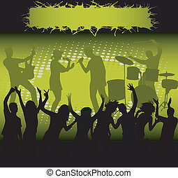 -, grün, concert, licht