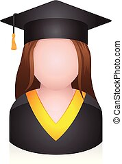 -, graduado, pessoas, avatar, ícones, estudante