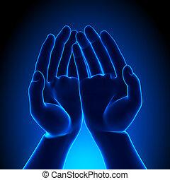 -, gratuite, conc, quelque chose, tenant mains