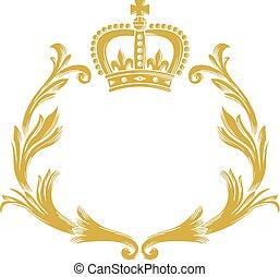-, grinalda, coroa, stylized, desenho, vindima, floral
