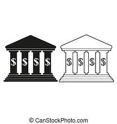 -, groene, bank, vector, pictogram
