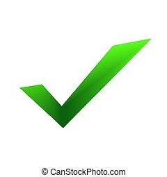 -, groene, checkmark, pictogram, vector