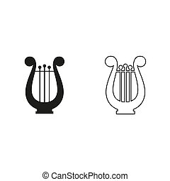 -, groene, harp, vector, pictogram