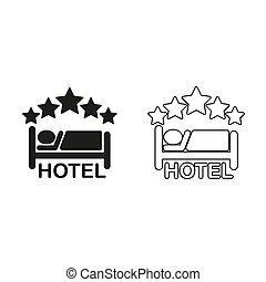 -, groene, hotel, vector, pictogram