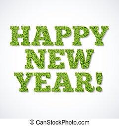 -, groene, jaar, nieuw, gras, kaart, vrolijke