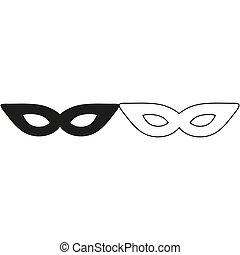-, groene, masker, vector, pictogram