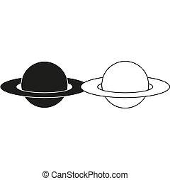 -, groene planeet, vector, pictogram