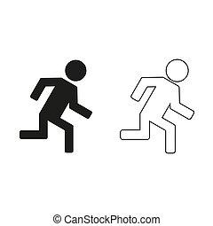 -, groene, rennende , man, vector, pictogram