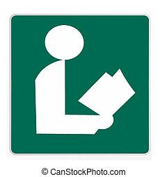 -, groene, straat, bibliotheek, meldingsbord