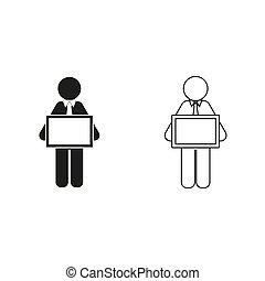-, groene, tablet, vasthouden, man, vector, pictogram
