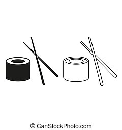 -, groene, vector, pictogram, sushi