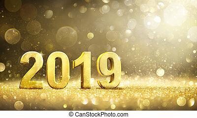 -, groet, versiering, 2019, jaar, nieuw, kaart