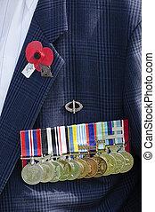 -, guerra, anzac, día, servicio, monumento conmemorativo
