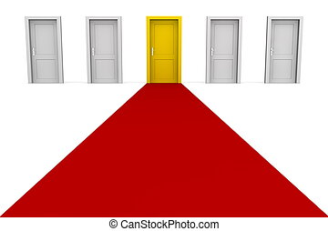 -, gul, fem, dörrar, röd matta