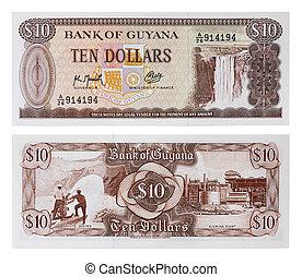 -, guyane, dix, exotique, monnaie, argent, dollars