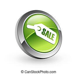 -, guzik, zielony, sprzedaż, kula