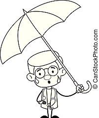 -, gynécologue, docteur, debout, parapluie
