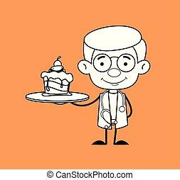 -, gynécologue, docteur, présentation, gâteau