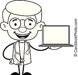 -, gynécologue, ordinateur portable, docteur, présentation
