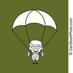 -, gynécologue, parachute, docteur, atterrissage, réussi