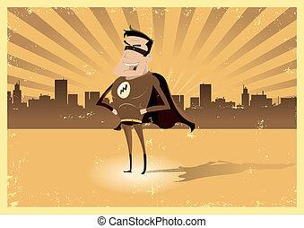 -, héros super, mâle, retro, vendange