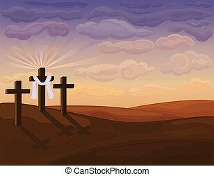 -, húsvét, dombok, vallásos, golgota