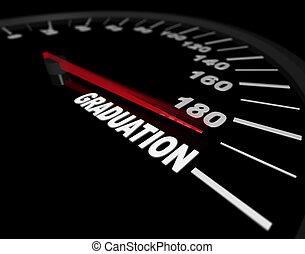 -, hacia, velocímetro, graduación, exceso de velocidad