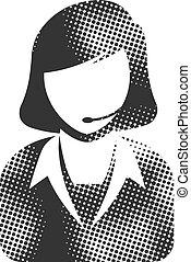 -, halftone, pictogram, receptionist, vrouwlijk