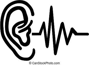 -, hallókészülék, fül, frequence