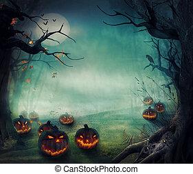 -, halloween, pompoennen, ontwerp, bos