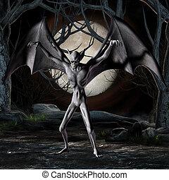 -, halloween, vampier, figuur