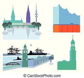 -Hamburg-.eps - Hamburg cityscape with harbor