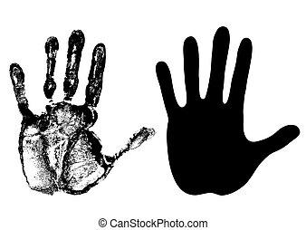 -, hand-, ベクトル, やし, 黒