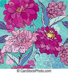 -, hand, blom- mönstra, oavgjord, blomningen, krysantemum, peony., seamless