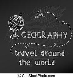 -, hand, bord, vektor, krita, drawn-, skola, baksida, underteckna, geografi