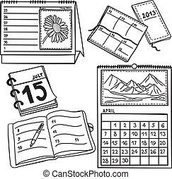 -, hand-drawn, sätta, kalendrar, illustration