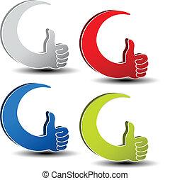 -, hand, symbolen, vector, gebaar, keuze, best