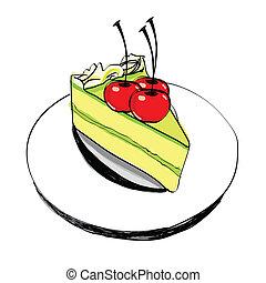-, hand, vektor, tårta, oavgjord, stycke