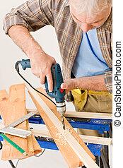 -, handyman, verbetering, hout, boren, thuis