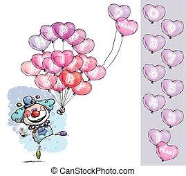 -, hart, gezegde, ballons, jubileum, vrolijke , jongen, kleuren, clown