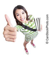 -, haut, main, excellence, pouces, étudiant, girl, geste