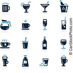 --, hemelsblauw, dranken, reeks, iconen