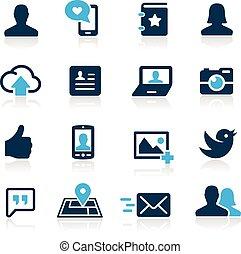 --, hemelsblauw, sociaal, reeks, iconen