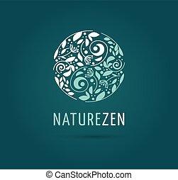 -, herbario, vector, medicina, meditación, yang, logotipo, ...