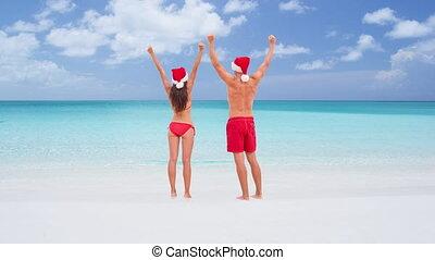 -, heureux, cinemagraph, loop:, couple, voyage, seamless, noël, vacances plage
