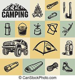 -, hiking, acampamento, ícone, jogo, montanha, equipamento