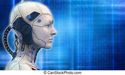 -, hintergrund, roboter, 3d, technologie, übertragung, frau, tapete