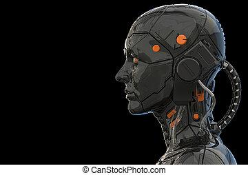 -, hintergrund, roboter, 3d, weibliche , technologie, übertragung, frau, cyborg, android, -realistic, humanoid